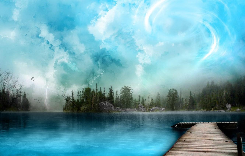 Фото обои небо, природа, озеро