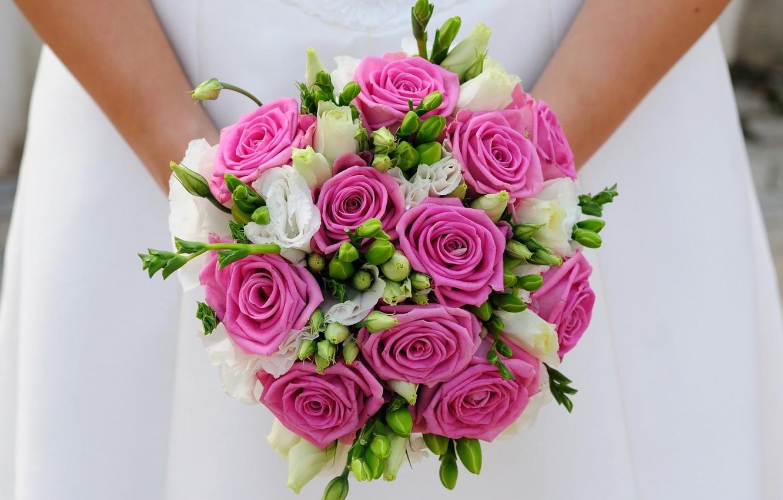 Фото обои девушка, букет, невеста, свадьба