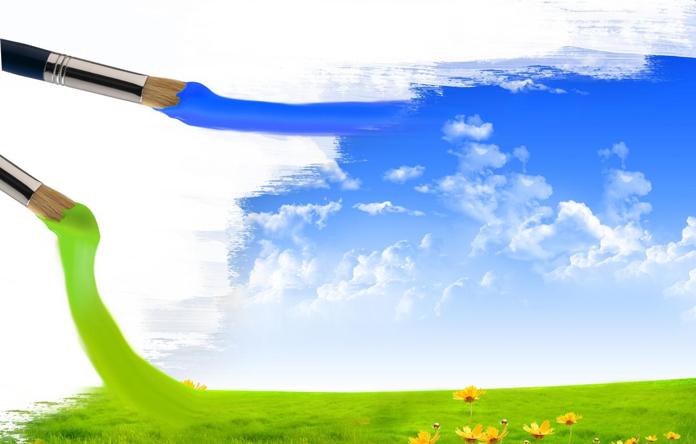Фото обои поле, небо, облака, цветы, креатив, краски, кисти