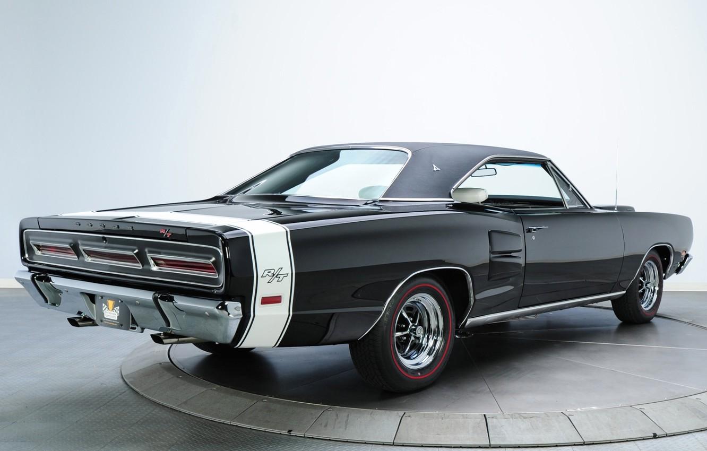 Фото обои фон, чёрный, Додж, 1969, Dodge, вид сзади, Coronet, Muscle car, Magnum, Мускул кар, R T, …