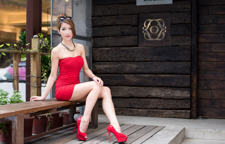 Фото обои лето, девушка, лицо, волосы, платье, каблуки, ножки, азиатка