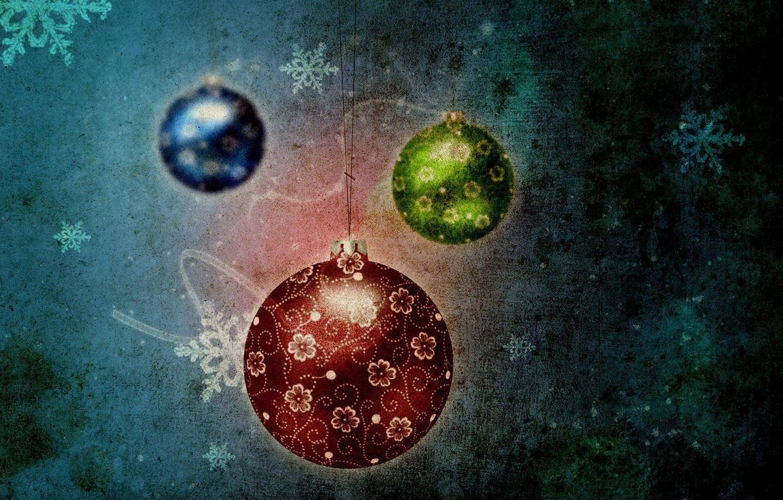 Фото обои снежинки, синий, красный, шары, зелёный, празник