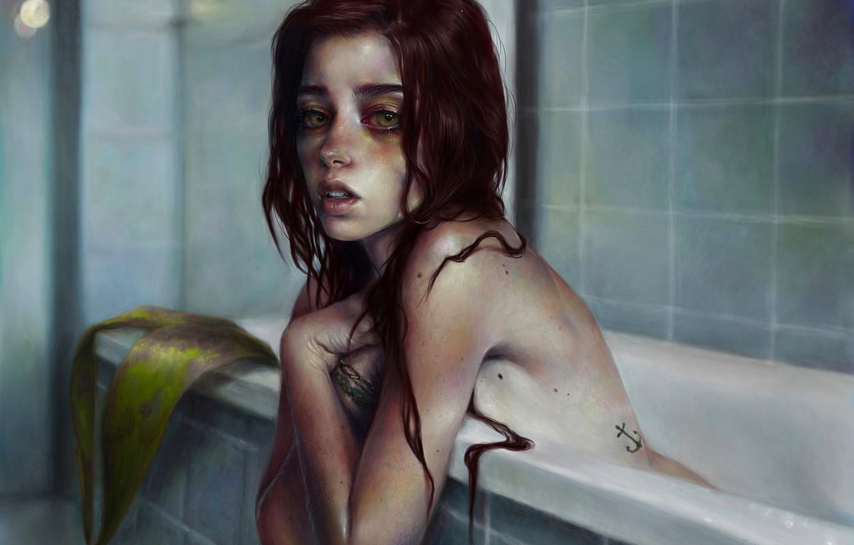 Фото обои взгляд, девушка, лицо, русалка, арт, ванна, рыжая