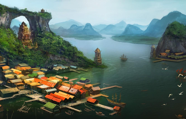 Фото обои море, острова, вид, корабль, дома, арт, пирс, арка, храм, arvalis
