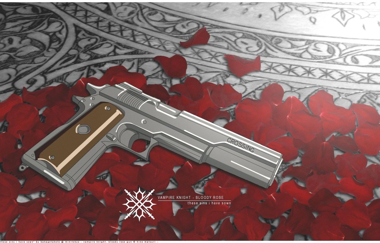 Фото обои pistol, rose, bloody, vampire, petals, knight