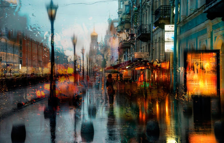 Фото обои капли, дождь, Санкт-Петербург, храм, Спас на Крови