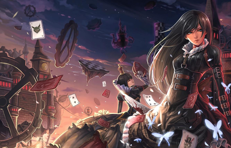 Фото обои карты, бабочки, замок, девушки, кровь, череп, механизм, нож, детали, королева, alice in wonderland