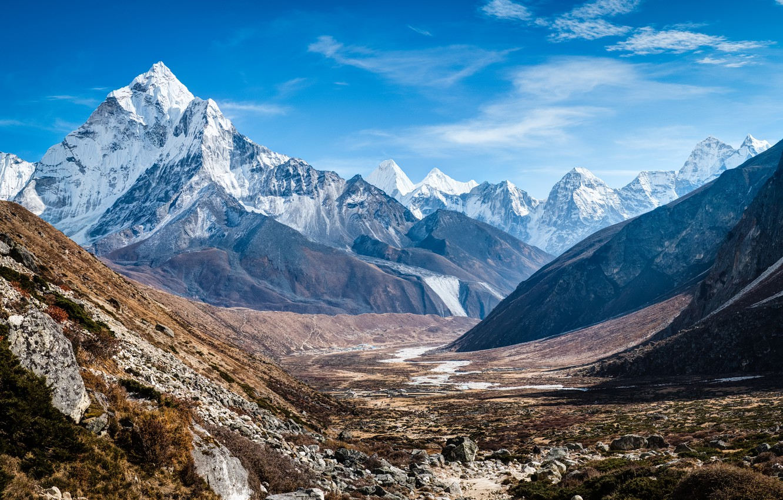 Фото обои снег, пейзаж, горы, долина