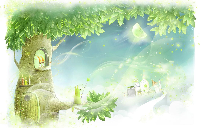 Фото обои цветы, дерево, луна, звёзды, свечи, дверь, дорожка, домики, детские обои, удочка, зверёк, сказочно, крона, громы