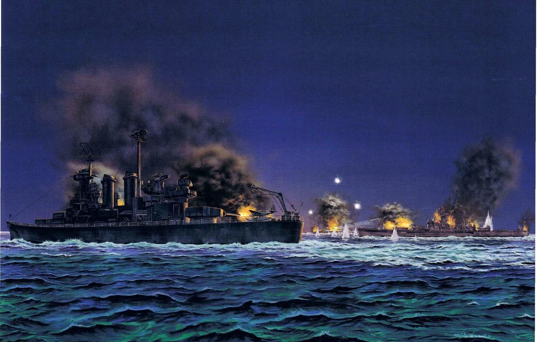 Фото обои ночь, рисунок, арт, крейсер, японский, морской бой, WW2, линейный, Гуадалканал, 14 ноября 1942 года, американский ...