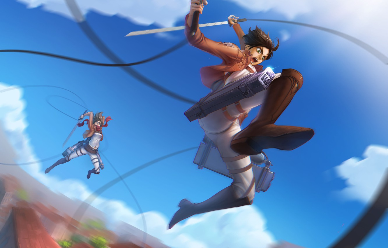 Фото обои небо, девушка, облака, меч, аниме, арт, парень, сражение, renyu1012, shingeki no kyojin, mikasa ackerman, eren …