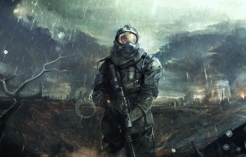 Фото обои тучи, город, оружие, дождь, арт, шлем, мужчина, броня, руины