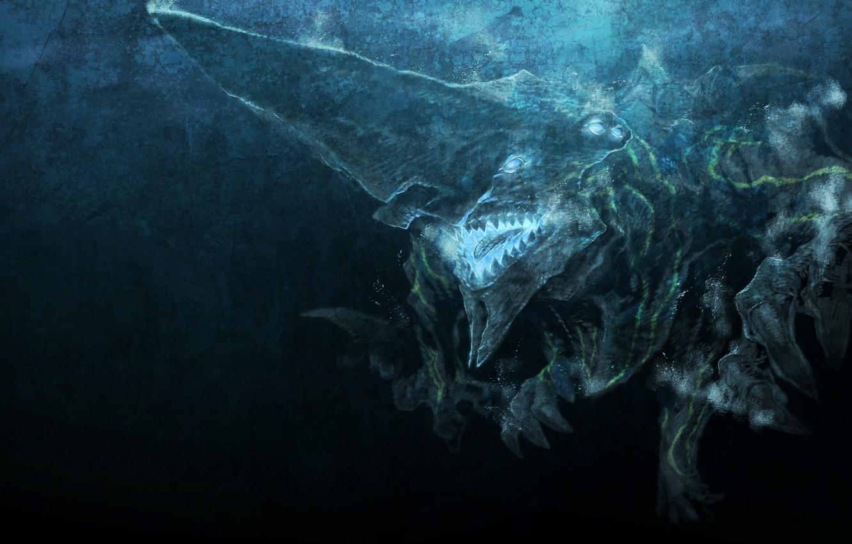 Фото обои монстр, арт, под водой, miwa shirow, pacific rim, кайдзю, knifehead