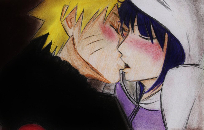 Фото обои девушка, поцелуй, аниме, арт, парень, Наруто, Naruto, Naruto Uzumaki, Хината, Hyuuga Hinata