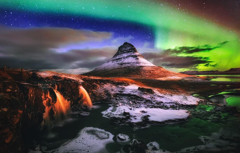 Фото обои свет, ночь, северное сияние, водопады, Исландия, гора Kirkjufell