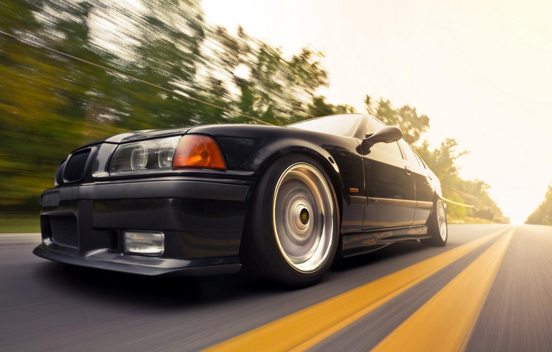 Фото обои дорога, машина, скорость, BMW