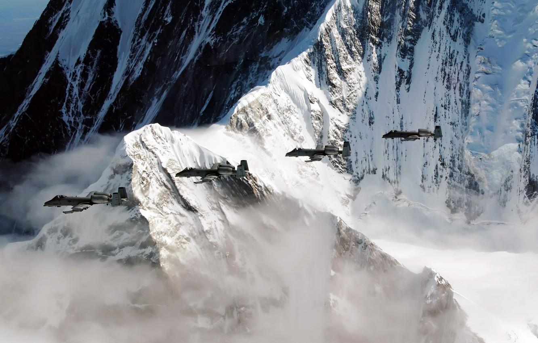 Фото обои горы, скала, самолёт, аляска, Pacific Alaska Range Complex, A-10, тренировочный полёт, Thunderbolt