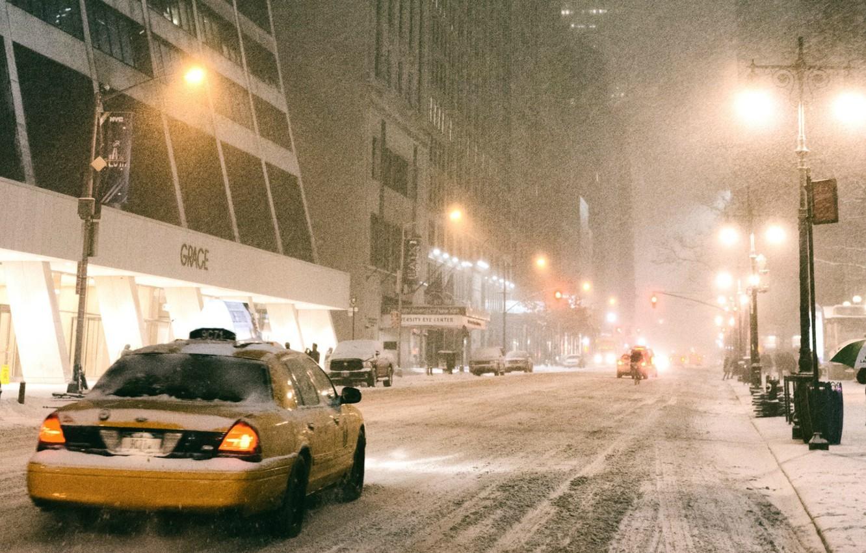 Фото обои зима, снег, city, такси, америка, нью-йорк, сша, snow, america, taxi, usa, new-york, town