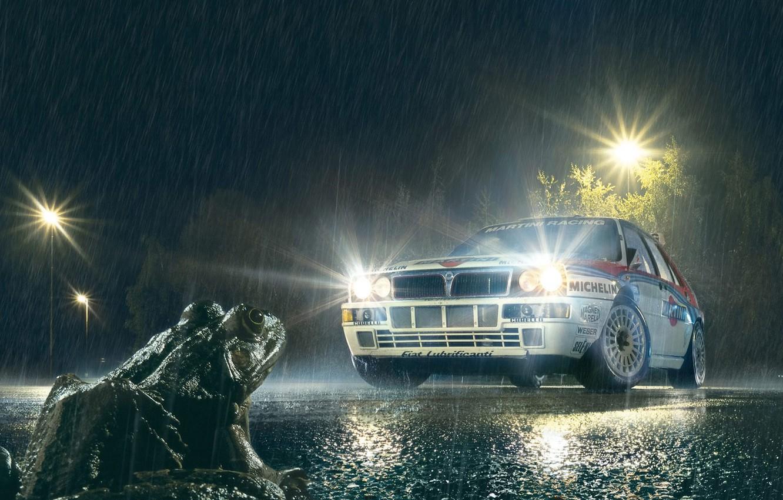 Фото обои Лягушка, Дождь, Фонари, Брызги, Фары