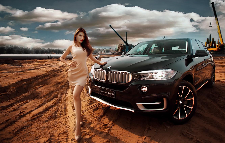 Фото обои девушка, поза, BMW, азиатка