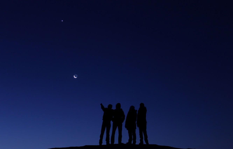 Фото обои космос, люди, Луна, Венера