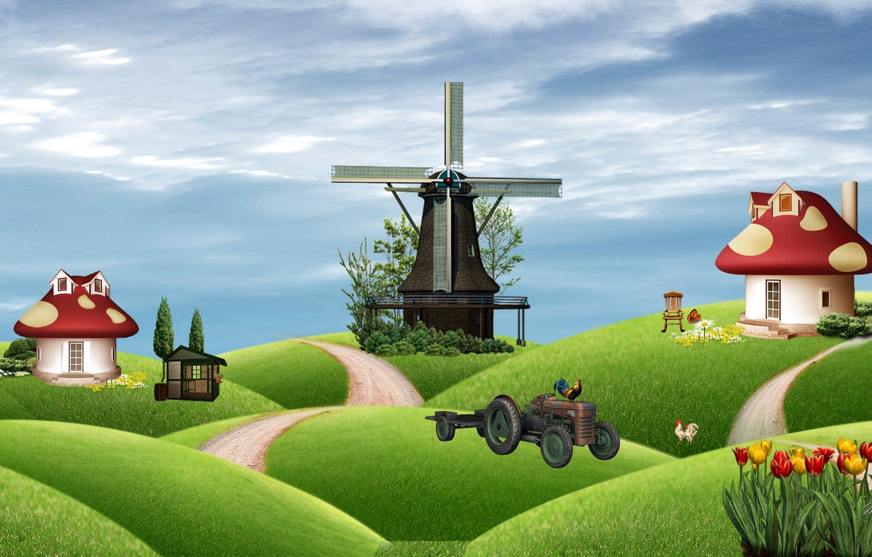 Обои сказка, Гриб, Коллаж, ферма. Разное foto 6