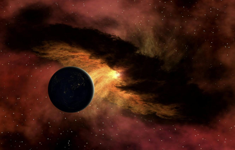 Фото обои энергия, космос, звезды, туманность, планета