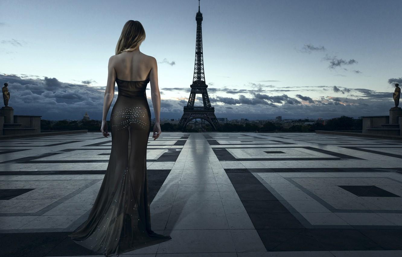Фото обои city, girl, Paris, dress, style, France, evening, model, blonde, Eiffel Tower, elegant, evening dress