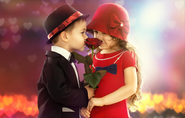 Фото обои цветок, дети, настроение, романтика, роза, мальчик, девочка