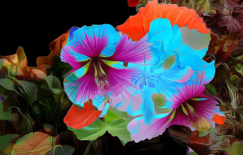 Фото обои линии, цветы, рендеринг, краски, лепестки