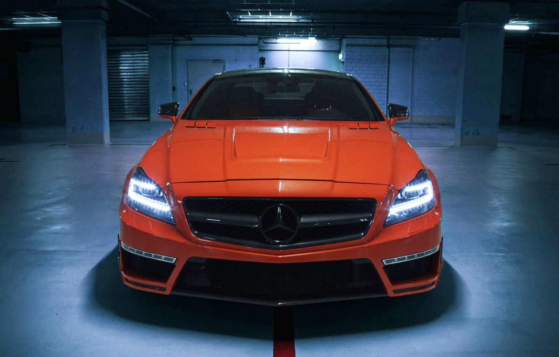 Фото обои car, авто, обои, Mercedes-Benz, AMG, tuning, front, orange, CLS 63, German Special Customs, GSC