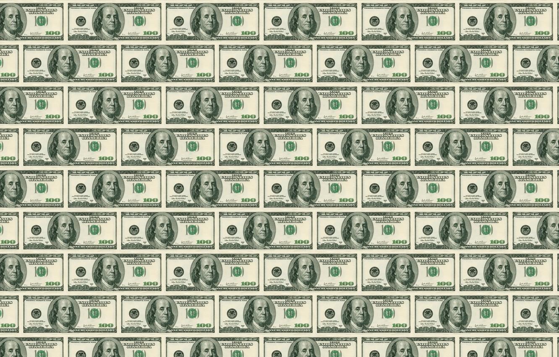 Фото обои сто, зелёные, Доллары, франклин