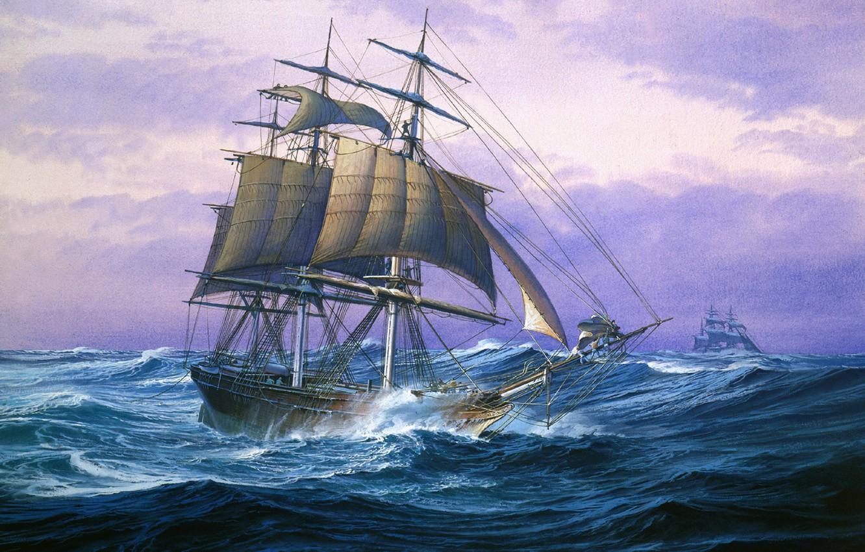 Обои жанровая, парус, Три Паруса, лодка, женщины, Хоакин Соролья, морской пейзаж, картина. Разное foto 14