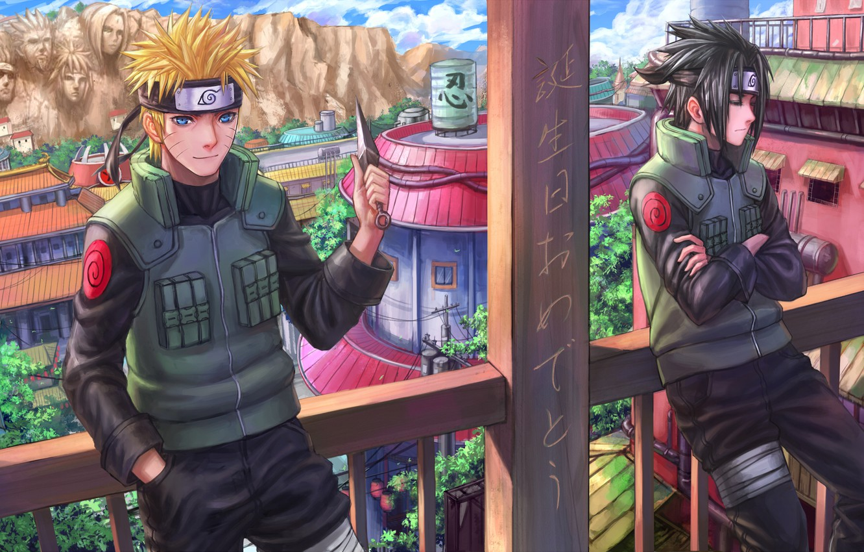 Фото обои город, скала, арт, лица, нож, иероглифы, перила, балкон, парни, uchiha sasuke, uzumaki naruto, naruto shippuden, …