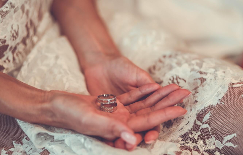 Фото обои кольца, руки, кружева, невеста