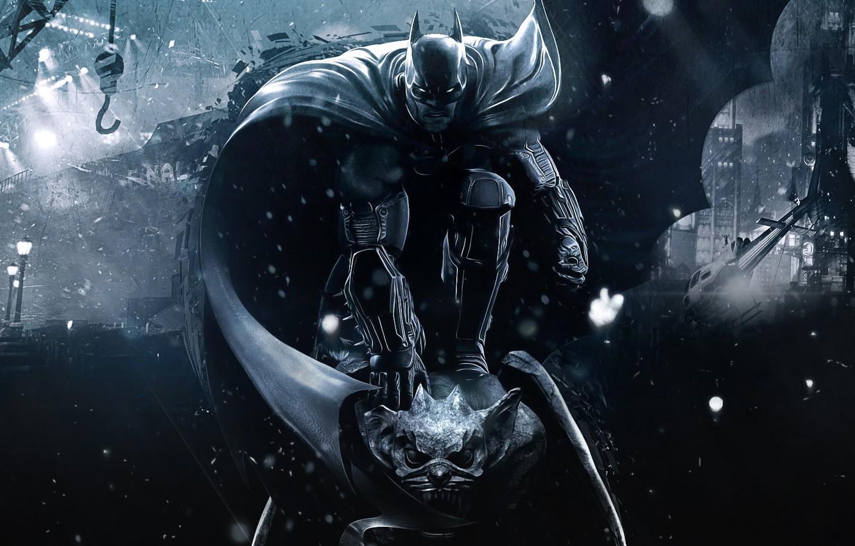 Фото обои City, Hero, Batman, Night, Background, DC Comics, Bruce Wayne, Statue, Video Game, Warner Bros. Games …