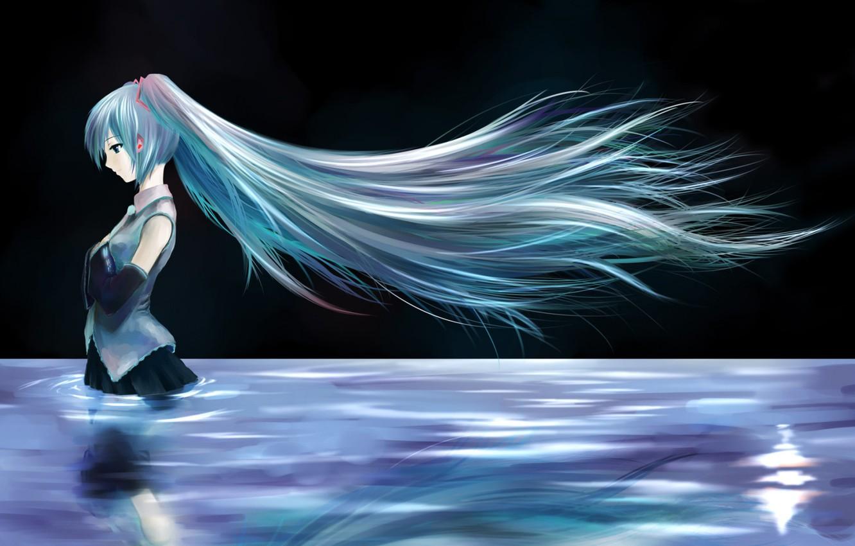 Фото обои девушка, ночь, озеро, волосы, аниме, Хацунэ Мику, Вокалоид