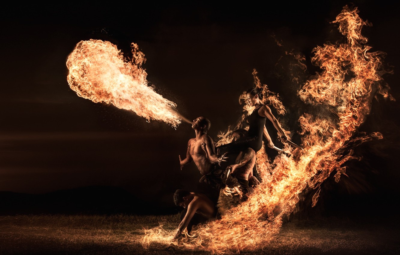 Фото обои люди, огонь, фаер-шоу