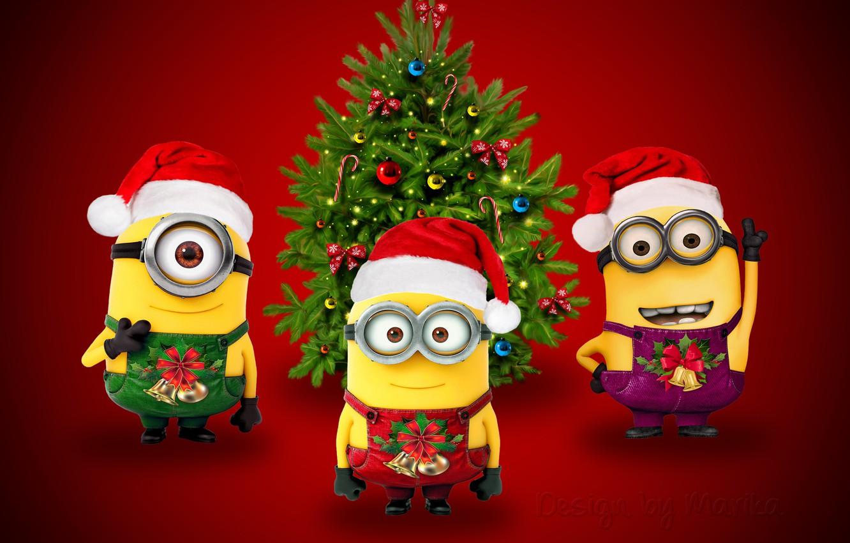 Фото обои Новый Год, Рождество, Санта, Christmas, Xmas, миньоны, cute, santa, minion, Design by Marika