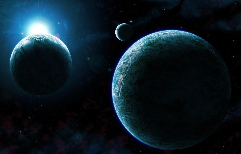 Фото обои space, light, blue, planet, Sci Fi
