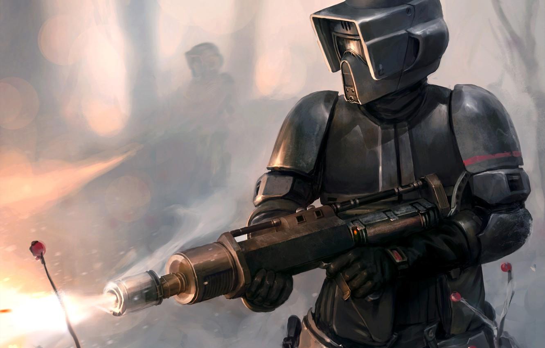 Фото обои Star Wars, Art, Scout Trooper, Flamethrower