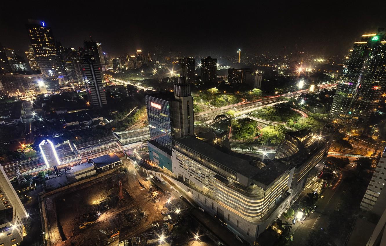 Фото обои ночь, огни, дома, Индонезия, вид сверху, улицы, Jakarta