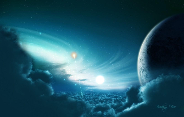 Фото обои light, blue, planet, Sci Fi