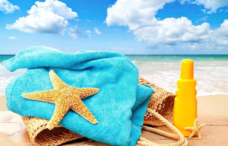 Фото обои море, пляж, лето, солнце, отдых, summer, beach, каникулы, sea, sun, bag, vacation, starfish, towel, accessories