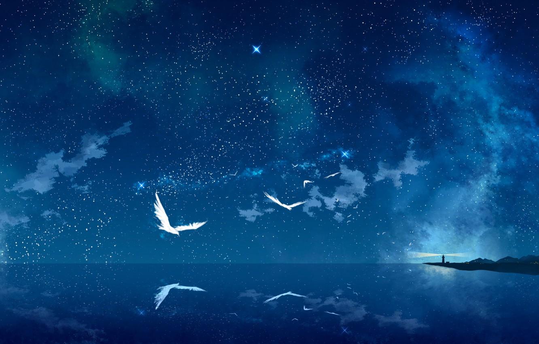 Фото обои море, звезды, птицы, ночь, маяк, арт, звездное небо, tokumu kyuu