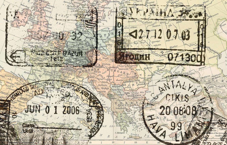 Фото обои map, stamps, europe passport
