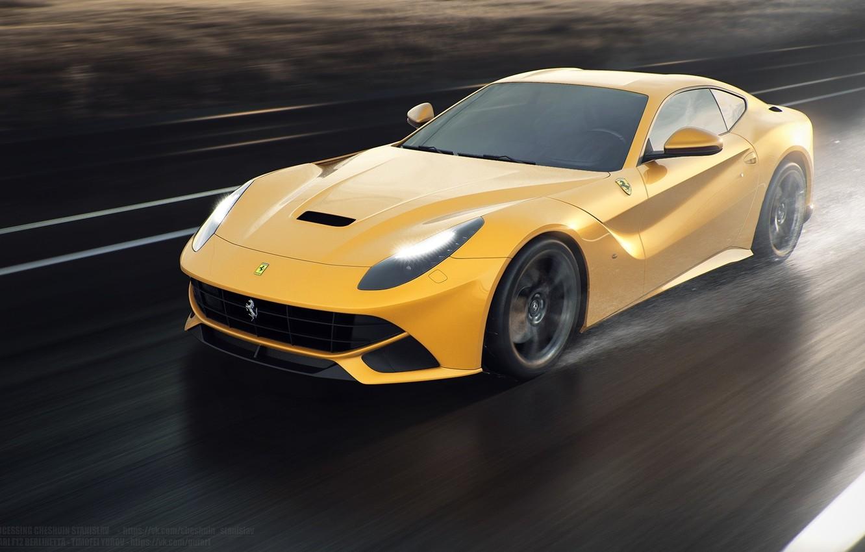 Фото обои Ferrari, Speed, Front, Sun, Rain, Yellow, Road, Berlinetta, F12