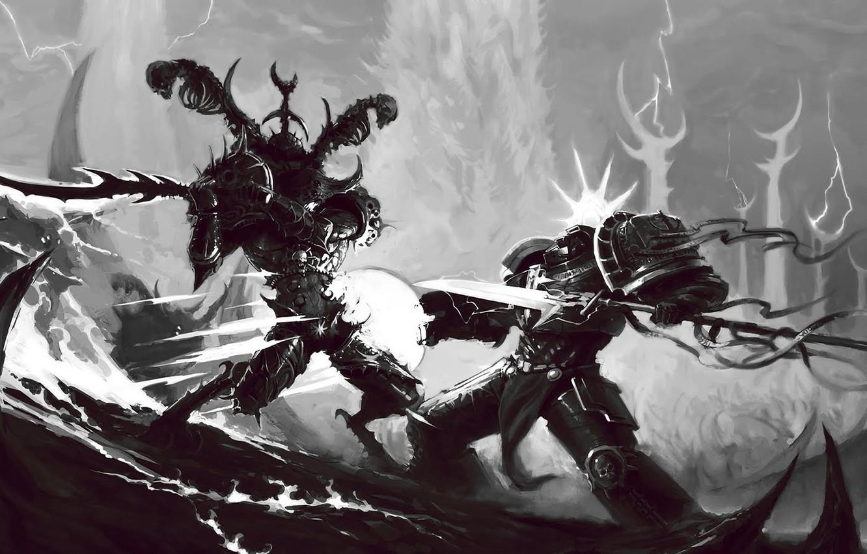 Фото обои терминатор, демон, хаос, схватка, warhammer 40k, серые рыцари