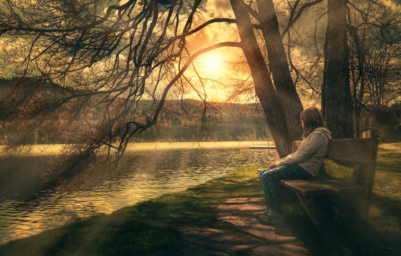 Фото обои дерево, берег, обработка, девочка, Relax, скамья, Enjoy