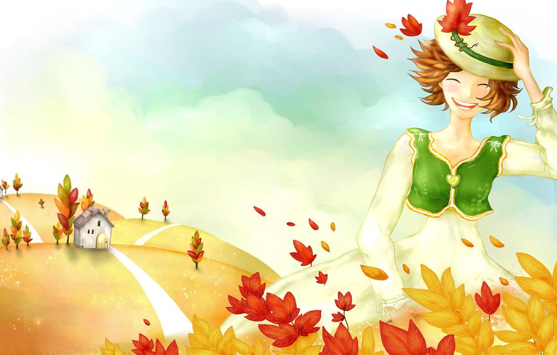 Фото обои осень, листья, девушка, настроение, ветер, рисунок, дорожка, домик, шляпка